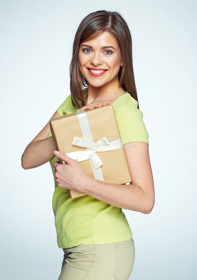 menar den härliga asken för attraktiv bakgrund att kvinnlign får gåvaflickan den isolerade ladyen för guldholdingen little över b arkivfoto