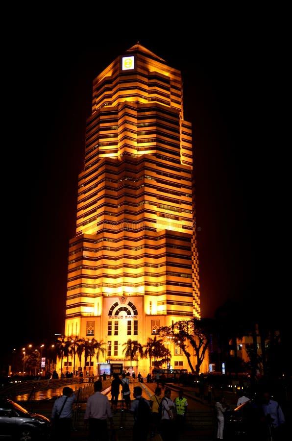 Menara公共银行在晚上 库存照片