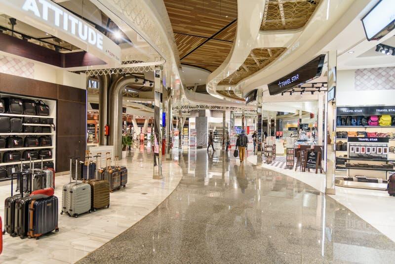 Menara机场离开大厅在马拉喀什 摩洛哥 免版税图库摄影