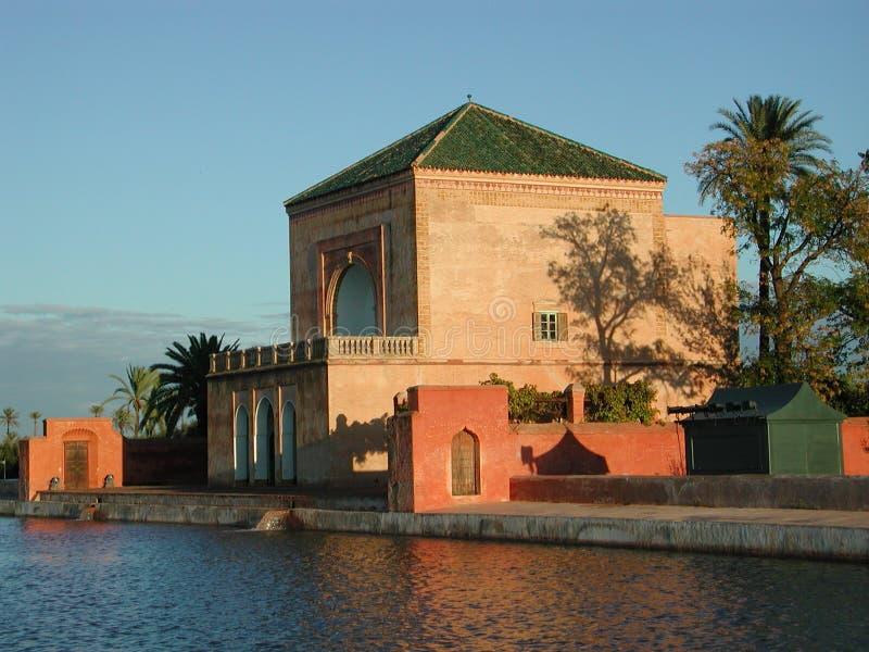 Menara Garten Pavillion - Marrakesch/Marokko stockfotos