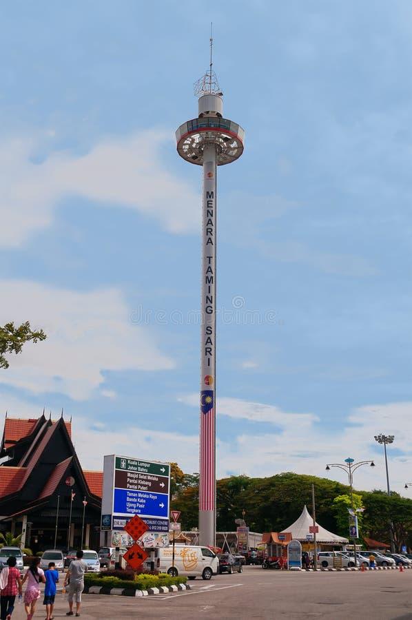 Menara som tämjer Sari Tower på den Malacca staden arkivfoton