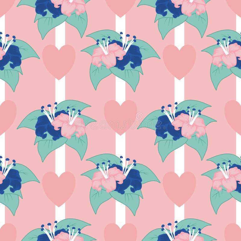 Menchia i błękit kwitniemy z serca tłem w bezszwowym wzorze, ilustracji
