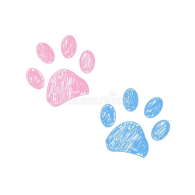 Menchie i błękit barwili ręka rysującego łapa druk ilustracja wektor