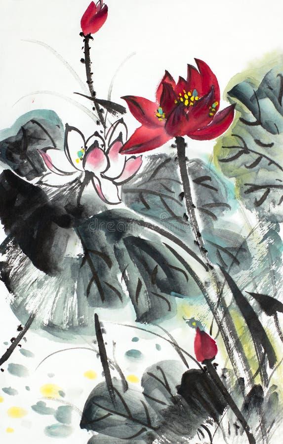 Menchie i czerwony lotosowy kwiat royalty ilustracja
