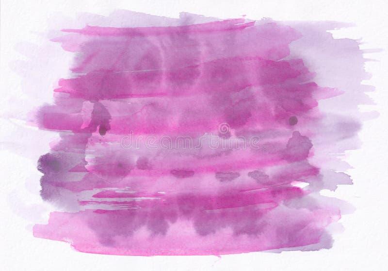 Menchie i purpura plamiący horyzontalnej akwareli ręki gradientowy d ilustracji