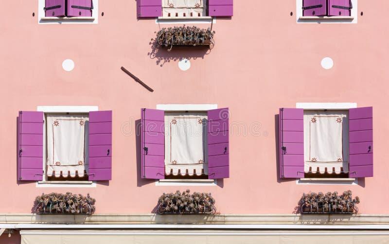 Menchie i purpury na budynek powierzchowności fotografia stock