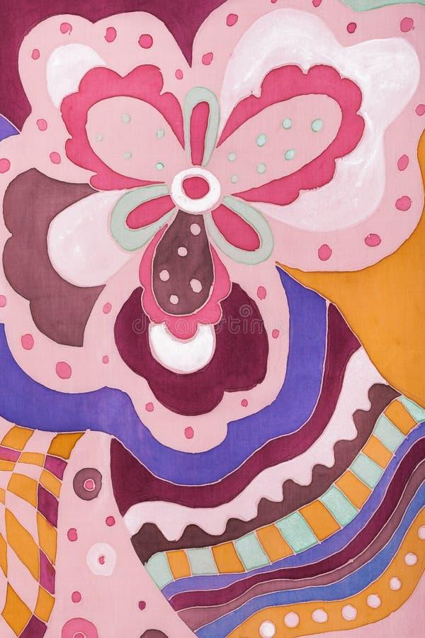 Menchii i brązu kwiecisty ornament na jedwabniczym batiku ilustracja wektor