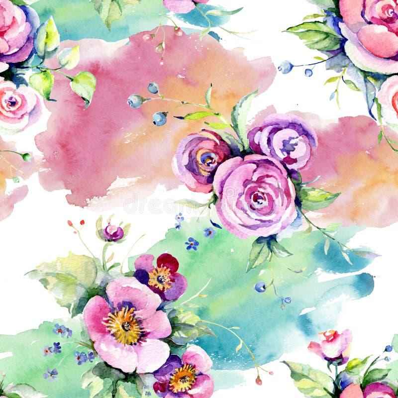 Menchii r??y bukieta loral botaniczni kwiaty Akwareli t?a ilustracji set Bezszwowy t?o wz?r ilustracja wektor