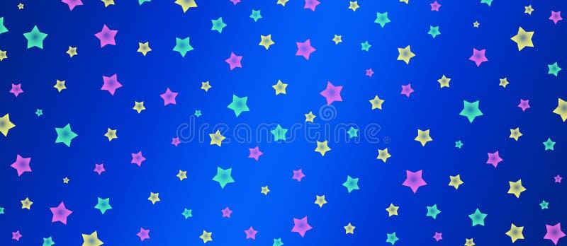 Menchii, zieleni i koloru żółtego gwiazd wzór w Błękitnym tło sztandarze, ilustracja wektor