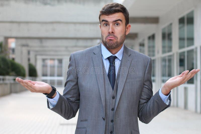 Mendacious businessman expression misunderstanding and confusion stock photos