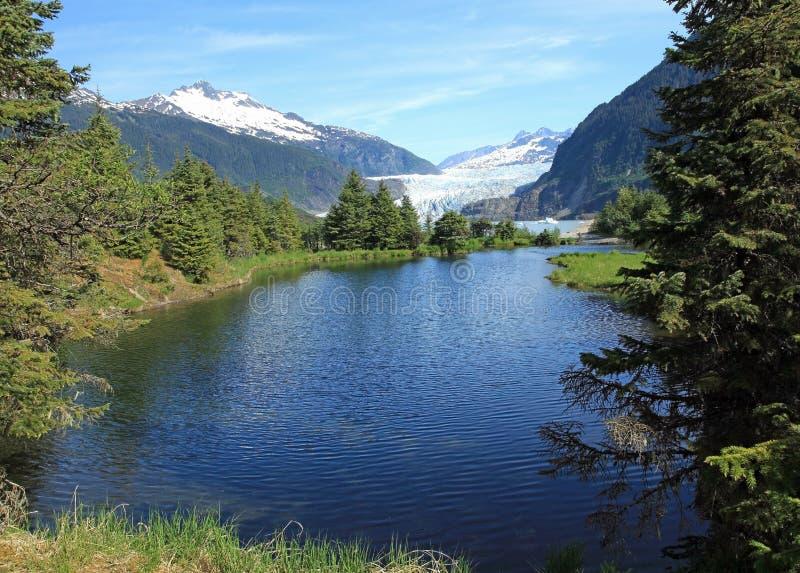 Mendenhall glaciär & sjö fotografering för bildbyråer