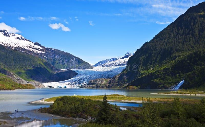 Mendenhall-Gletscher mit Nugget-Fällen stockbilder