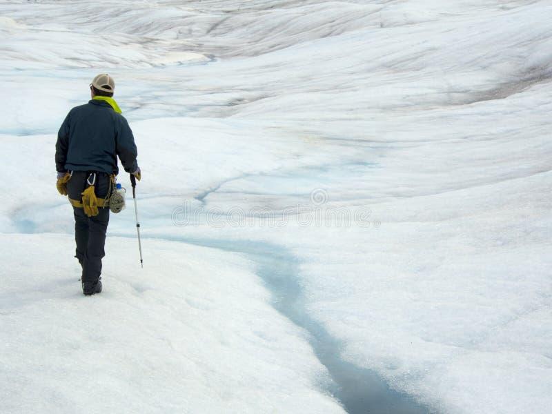 Mendenhallgletsjer, Juneau, Alaska Het lopen of Wandeling op Gletsjerexcursie royalty-vrije stock afbeelding