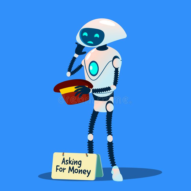 Mendiant Asking For Money de robot avec le vecteur disponible de chapeau Illustration d'isolement illustration libre de droits