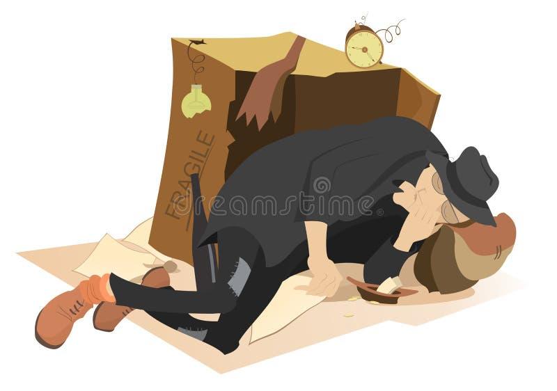 Mendiant de sommeil illustration de vecteur