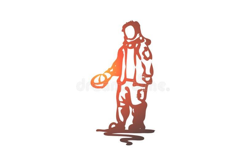 Mendiant, pauvre, sale, problème, concept de bruit de pas Vecteur d'isolement tiré par la main illustration de vecteur