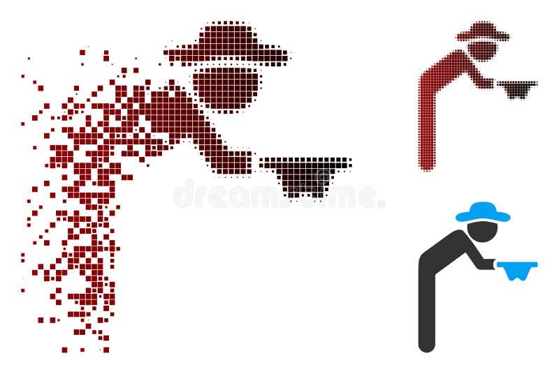 Mendiant tramé réduit en fragments Icon de monsieur de pixel illustration stock