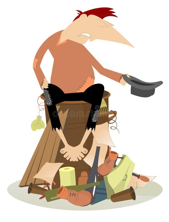 Mendiant triste sur l'illustration de décharge illustration libre de droits