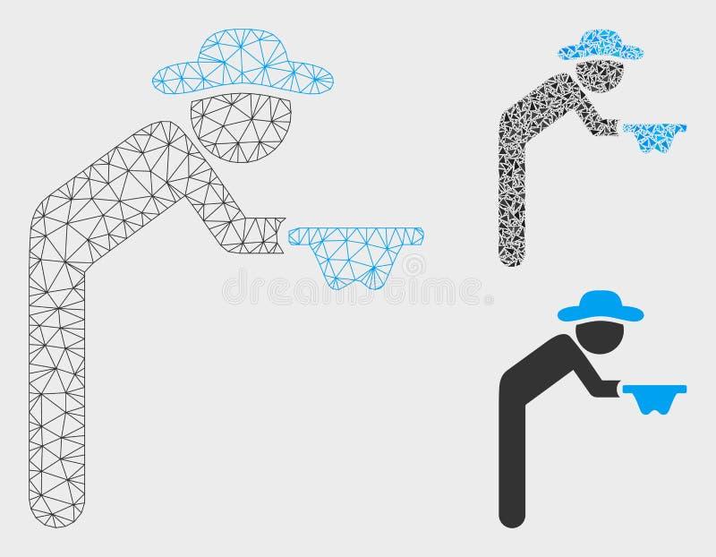 Mendiant Vector Mesh Wire Frame Model de monsieur et icône de mosaïque de triangle illustration libre de droits