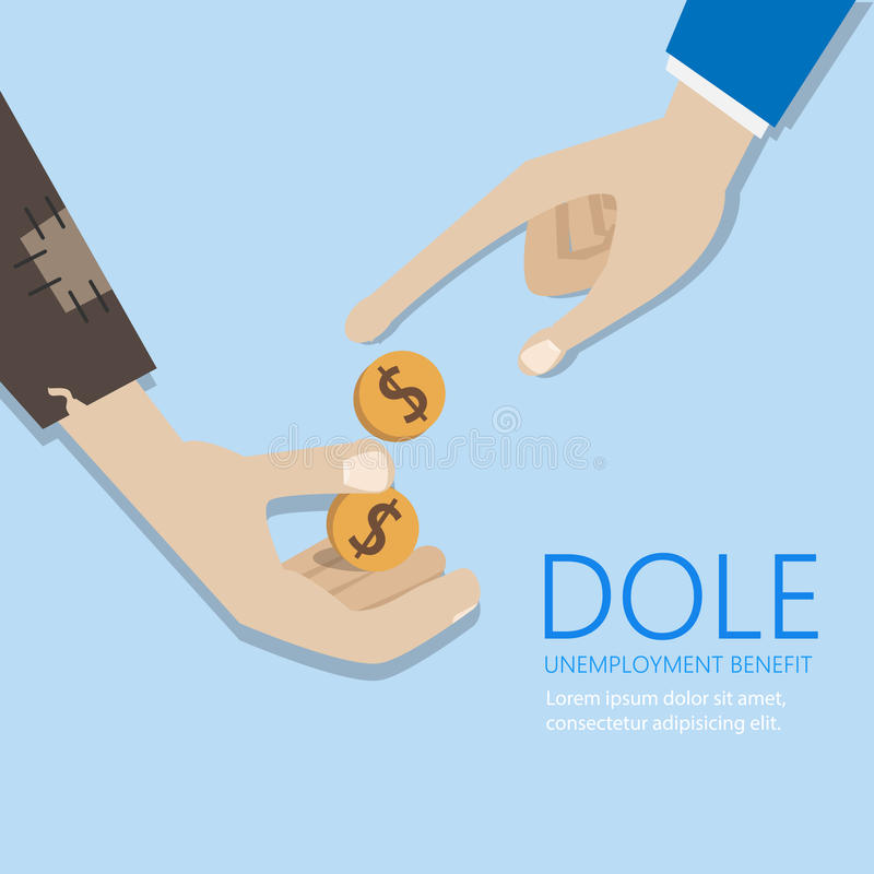 Mendicant's hand and money. Dole and unemployment benefit. Concept vector poster stock illustration