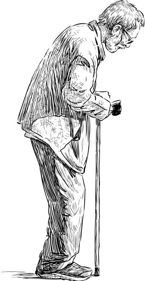 Mendicante anziano royalty illustrazione gratis