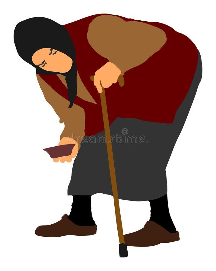 Mendicante senza tetto su un'illustrazione di vettore della via Persona senior che elemosina l'alimento o l'aiuto illustrazione vettoriale