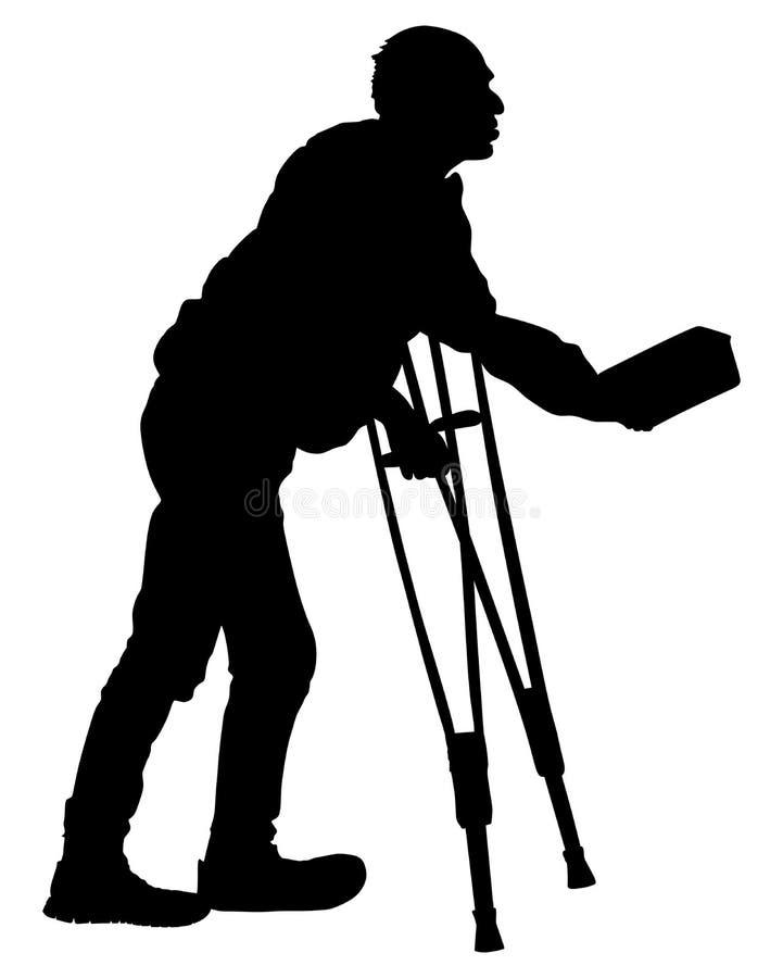 Mendicante senza tetto su una siluetta di vettore della via illustrazione di stock