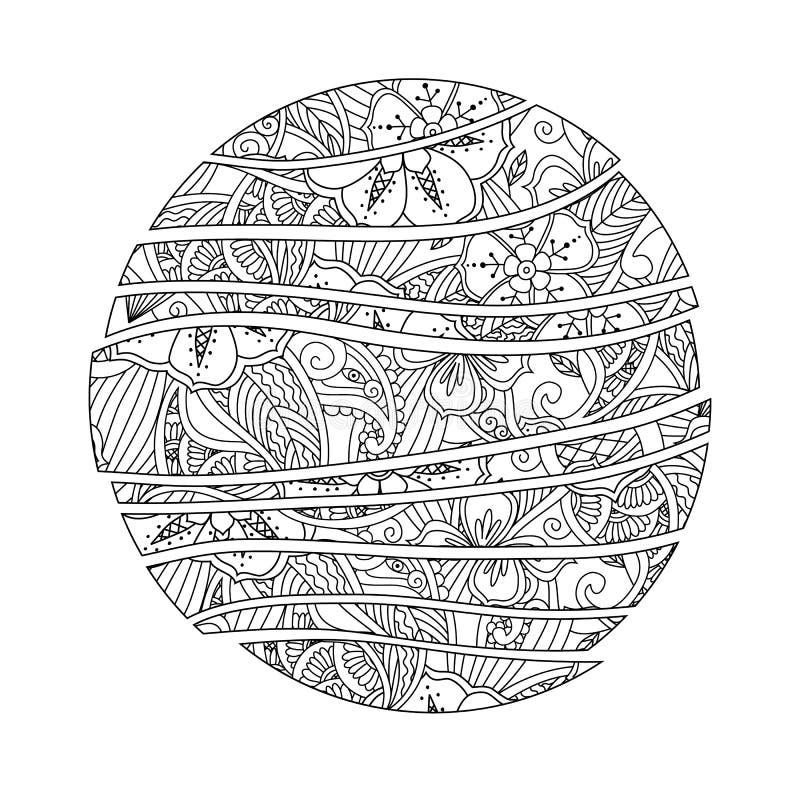 Mendie Mandala Αφηρημένος κύκλος κυμάτων με τη διακόσμηση λουλουδιών και φύλλων ελεύθερη απεικόνιση δικαιώματος
