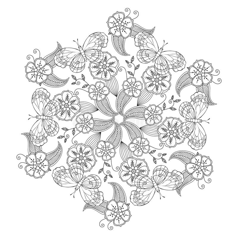 Mendie Mandala With Butterflies Flowers And Leaves Zenart Inspired Stock Vector