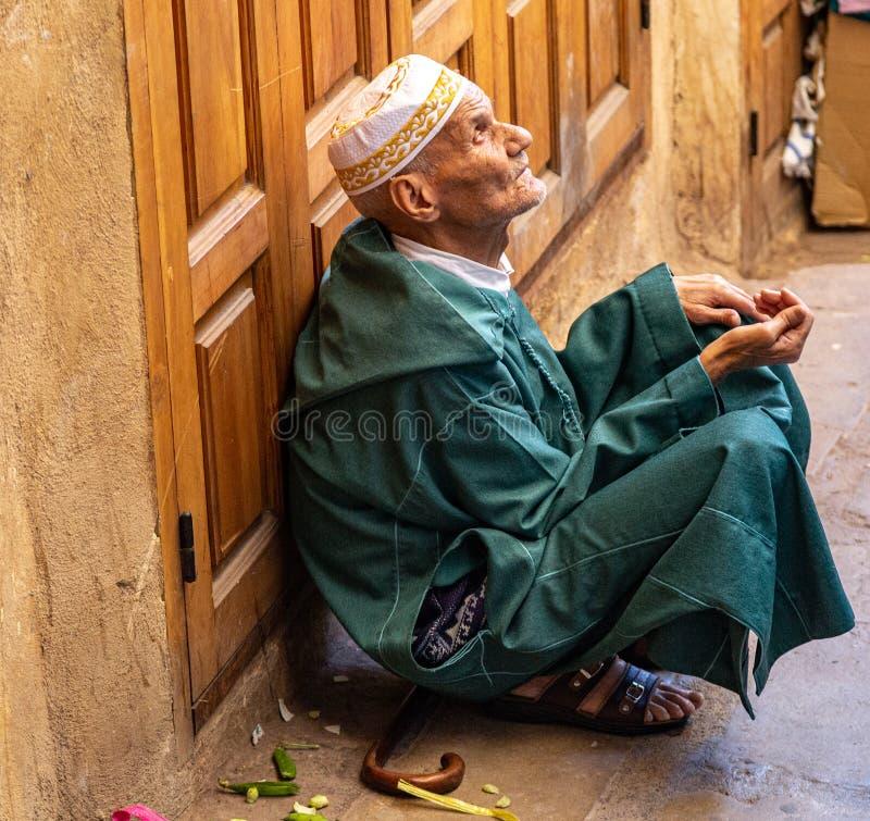 Mendigo ciego en Fez imagen de archivo