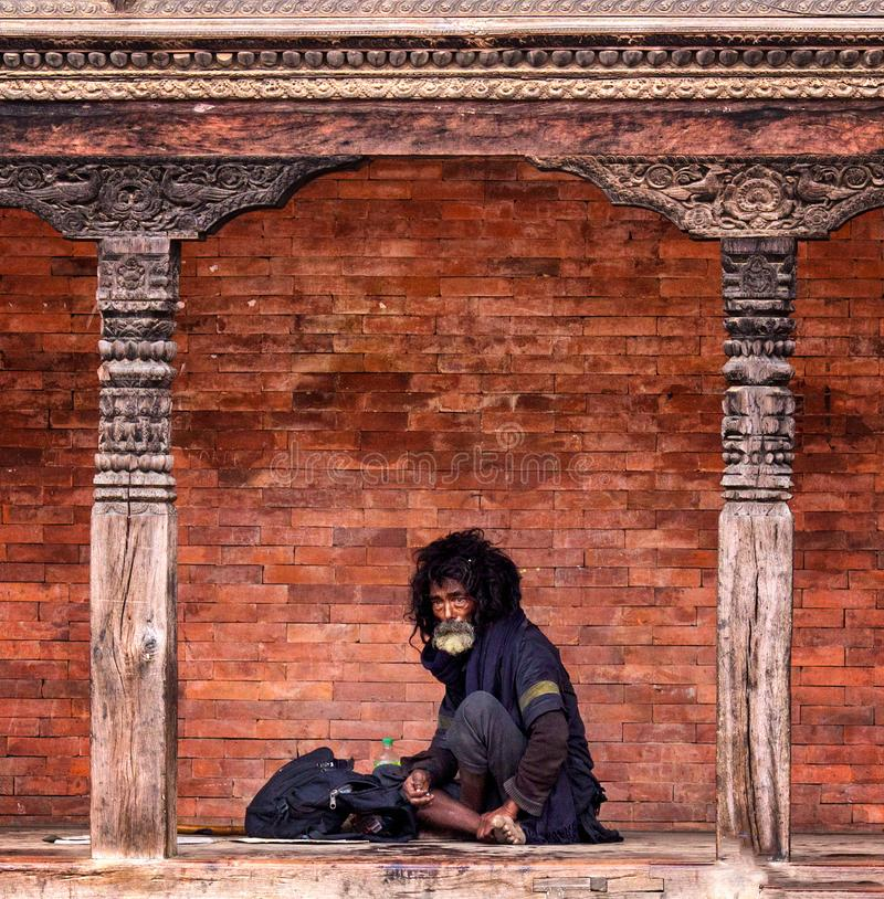 Mendigo Nepal foto de stock royalty free