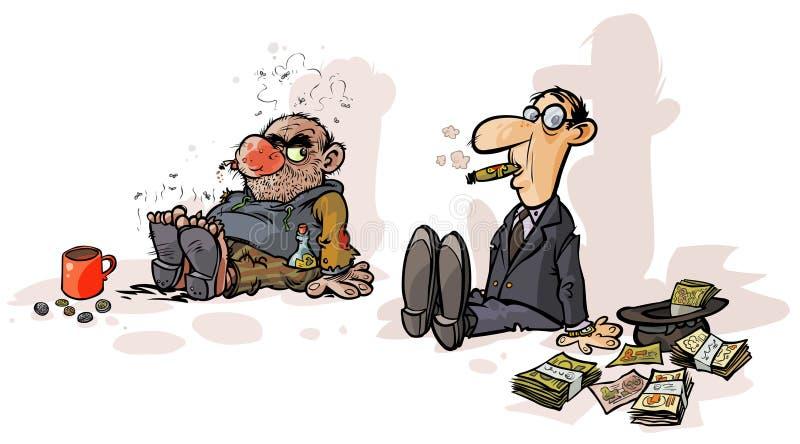 Mendigo pobre de Rich do mendigo ilustração royalty free