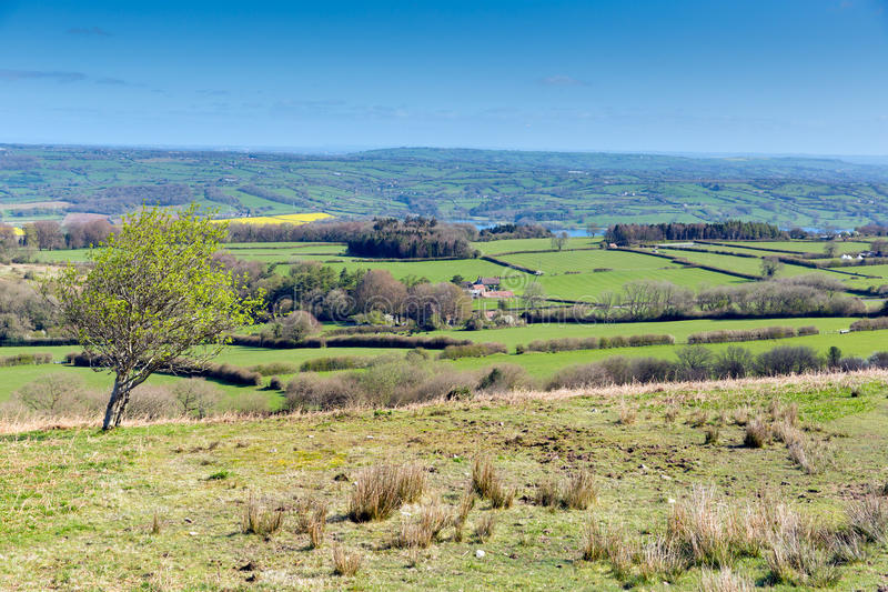 Mendip Hill view Somerset near Bristol. View from Black Down the highest hill in the Mendip Hills Somerset in south-west England UK towards Blagdon and Chew royalty free stock image