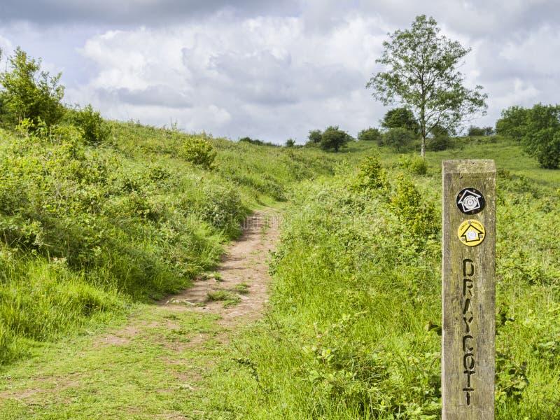 Mendip Way Somerset UK. The Mendip Way near Draycott, Somerset, England UK royalty free stock photography