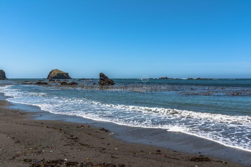 Mendocino沙子海滩,加利福尼亚 库存图片