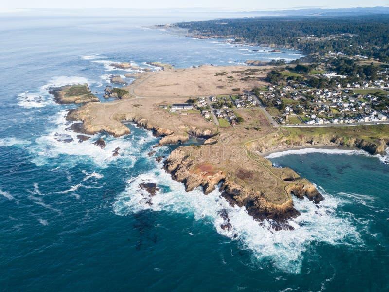 Mendocino海岸天线在北加利福尼亚 库存照片
