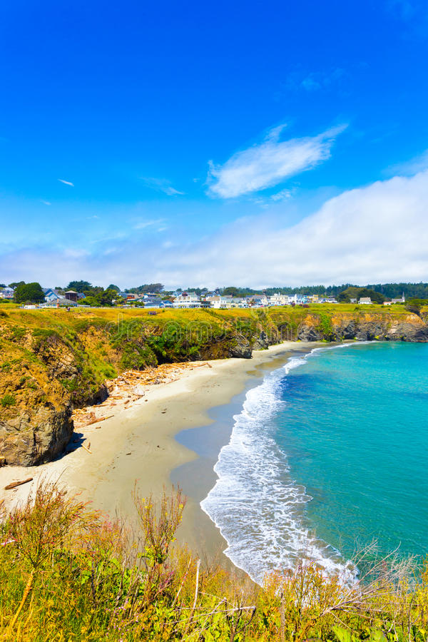 Mendocino Town Main Street Beach View V royalty free stock photography