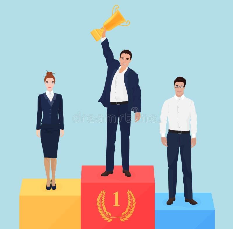 Meneur d'équipe d'homme d'affaires sur le concept de podium de victoire Champion réussi d'affaires illustration stock
