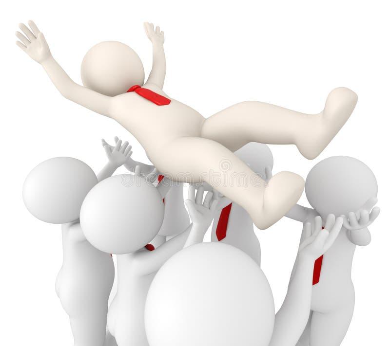 meneur d'équipe 3d réussi jeté en l'air en air par son équipe illustration de vecteur