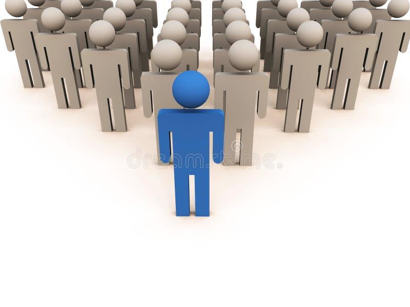 Meneur d'équipe devant l'équipe dans la couleur bleue illustration de vecteur