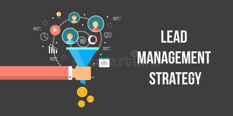 Menez la stratégie de gestion, optimisation de conversion, entonnoir de ventes, produisant du concept en ligne d'argent Bannière  illustration libre de droits