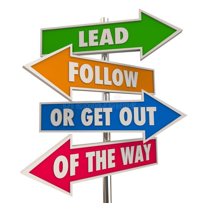 Menez suivent ou sortent des signes de manière illustration stock