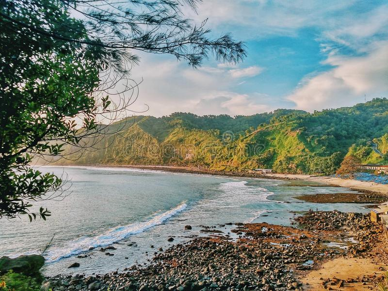 Menganti beach. This is the best place to stay in central java royalty free stock photo