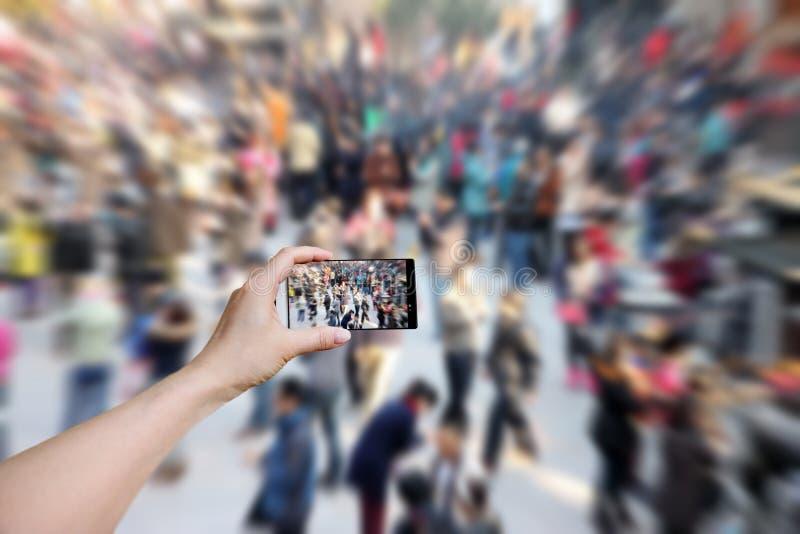 Menge an der Ausstellung. stockfotos