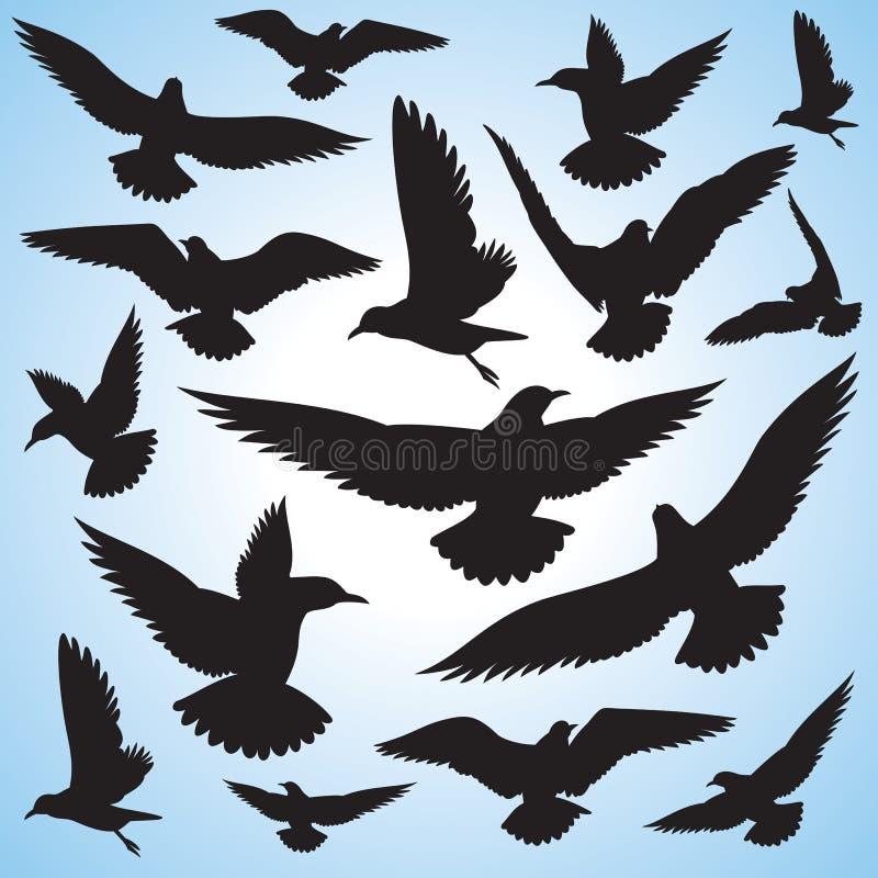 Menge der Flugwesenvögel und -himmels stock abbildung