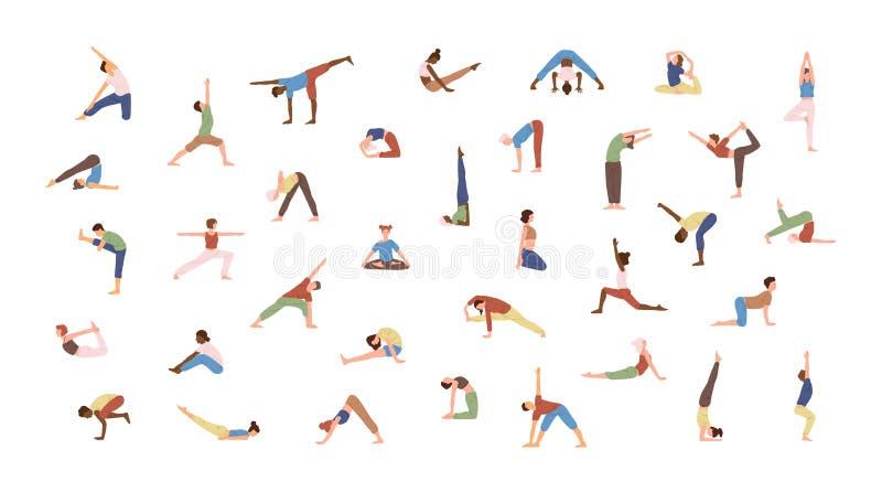 Menge von den kleinen Leuten, die Yogaübungen durchführen Männer und Frauen, die Asana lokalisiert auf weißem Hintergrund üben ge lizenzfreie abbildung