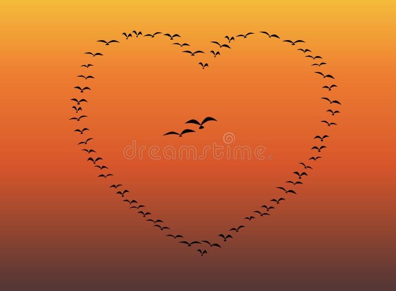 Menge von den Vögeln, die Herz-Hintergrund fliegen stock abbildung