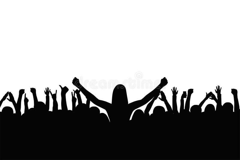 Menge von Leuten applaudieren Leute zeigen Gesten des Glückes und stützen sich mit den angehobenen Händen lizenzfreie abbildung