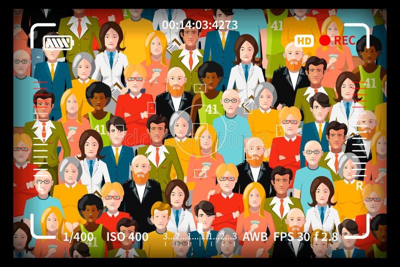 Menge von Leuten, Gruppenfotoaufnahmekonzept mit Reflexfotokamera-Sucherkennzeichen vektor abbildung