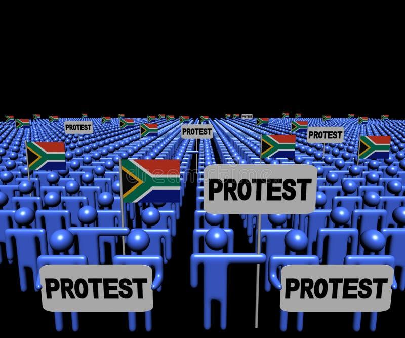 Menge von Leuten mit Protestzeichen und südafrikanischer Flaggenillustration vektor abbildung